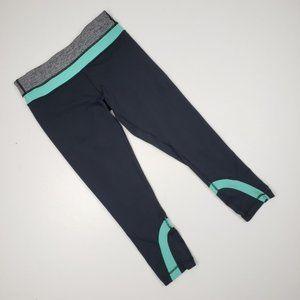 Lululemon Cropped Leggings Size 6 Mint & Grey